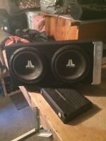 """2 Brand new 10"""" JL subs in Bassworks Box"""