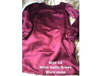 WINE SATIN DRESS