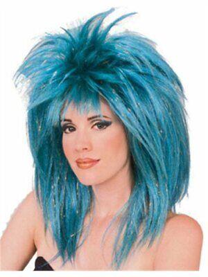 Blue Glitter Diva Wig Punk Rocker 1980's Costume