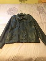 Women's Black Leather Danier Jacket Size Large