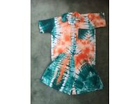 Tie dye shorts and shirt set