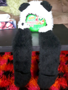 Panda hat with attached 'mittens'