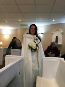 Wedding dress and cape...worn for 20 minutes