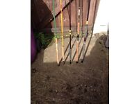 5 fishing poles for sale £25