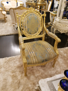 Gold blueish print antique chair and couch