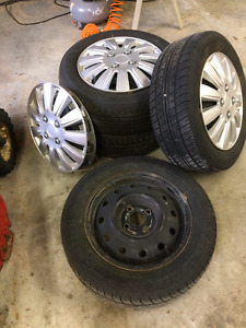 4x R14 Used Tires and 4-bolt Steel Rims in Frankford