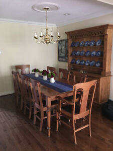 Stunning antique pine dining room hutch and harvest dining set.