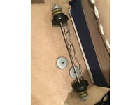 Barbell and ez curl bar with weights