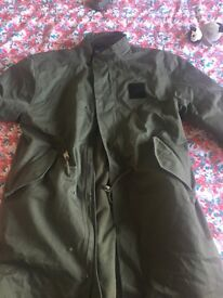 Khaki green long adidas thick coat men's large