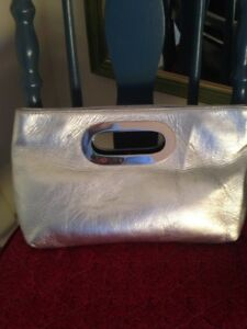 Daniel leather silver clutch