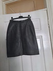 Black Real leather skirt Size 6