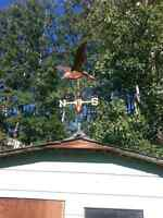Copper flying goose weather vane