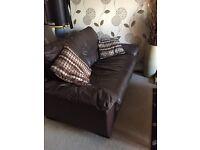 Brown sofa fake leather 2 seater
