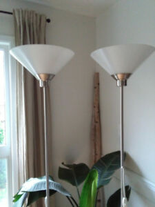 2 Contemporary Brushed Nickel Floor Lamps
