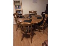 Solid Oak Extendable Dining Table and 6 chairs with removable cushions
