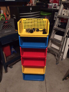 Stackable Open front storage baskets with casters
