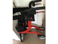Mobility walker with shopping bag and seat