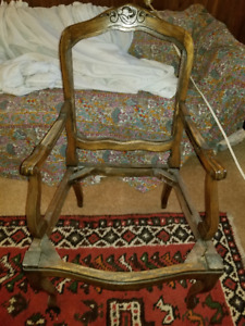 Antique Unfinished Solid Wood Chair Frame Armchair Side Chair
