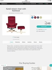 Harvey's Relaxer chair and footstool red
