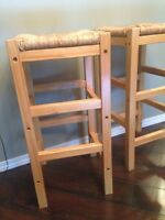 Two pine/wicker top stools -27 inches high