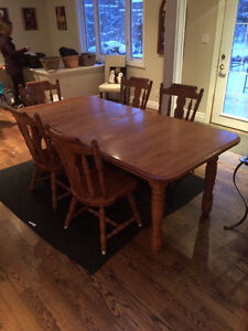 Canadel Solid Maple Dining Set with 6 chairs.  Made in Canada
