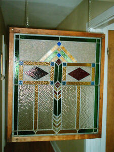 "Antique Stained-glass Window 26"" x 29"""