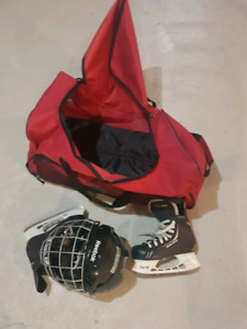 Kids hockey helmet, bag, skate