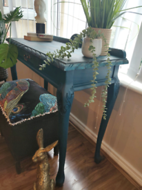Stunning handpainted blue tones hall.console table