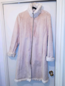 NEW Beige faux suede and fur coat