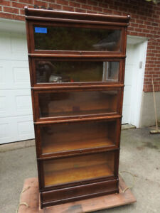 antique oak barrister bookcase  5 glass levels, restored