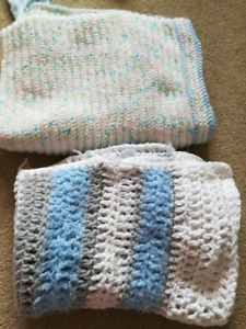 2 warm thick fleece baby blankets
