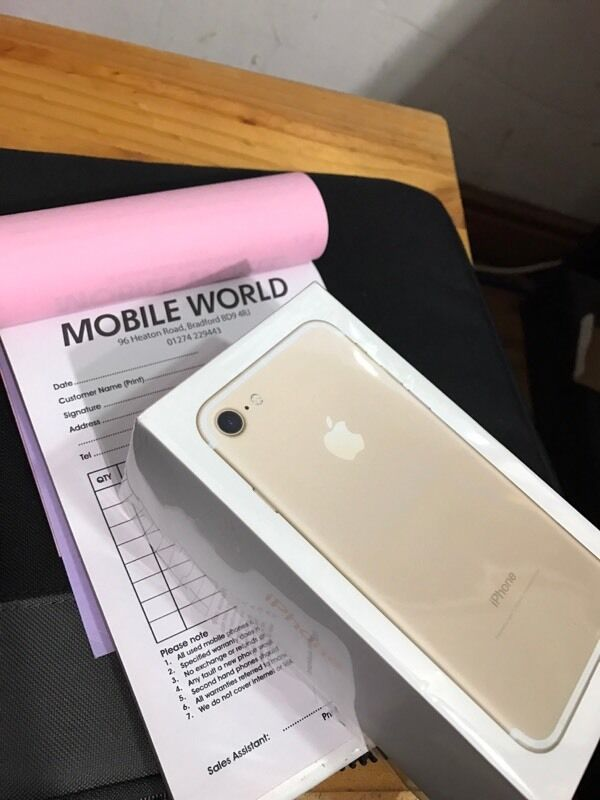 Iphone 7 Gold 128gb brandnew sealed pack 12 month Apple warrantyin Bradford, West YorkshireGumtree - Iphone 7 Gold 128gb brandnew sealed pack 12 month Apple warranty Work any sim Pick up from Mobile world 96 heaton road Bd9 4rj Bradford
