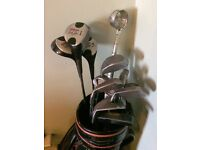 Golf bag with clubs and accessories