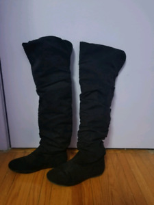 4 pair boots:  2 black suede, 2 leather (one brown one black)