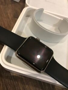 Apple Watch Series 1 42mm Stainless Steel w/ Black Apple Band