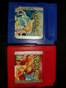 Pokemon Nintendo Gameboys games for sale red and blue