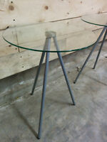 2 Glass Top Lamp Stands
