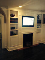 CUSTOM WALL UNIT AND FIREPLACE MANTEL
