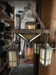 REDUCED ***$1200.***RARE STAINED GLASS CEILING LAMP