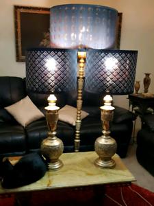 Antique brass lamps set