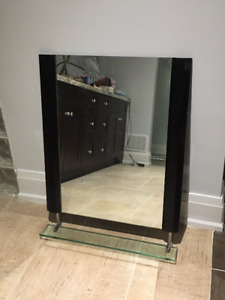 Wall Mirror with Wood Trim and Glass Shelf