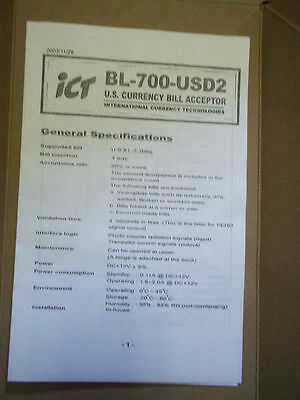 Ict Bl-700-usd2 U.s. Bill Acceptor Manual Changer International Currency Tech