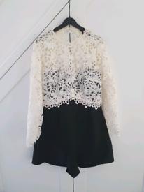 Topshop Women Black and Creamy Laced Shorts Jumpsuit UK Size 8, Elegan