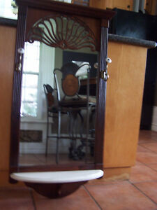 Beautiful Bombay Entrance Mirror with 2 Hooks and Marble Shelf