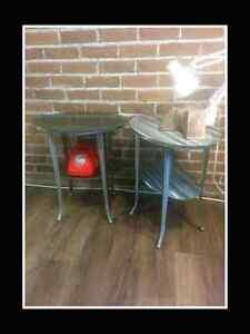 2 tables chevet acier brossé type industriel