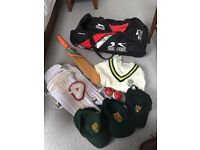 Boys cricket bag with equipment and NLCC kit