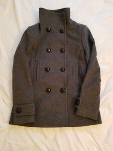 Aritzia Babaton Grey Howell Wool Cashmere Peacoat - Medium