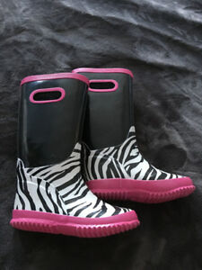 Lined rubber boots pink and zebra print, size 11