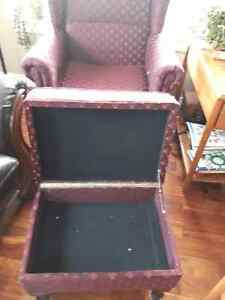 Wing back lift chair with ottoman