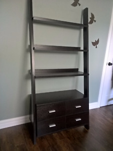 "69"" Ladder Bookcase with 4 storage drawers"